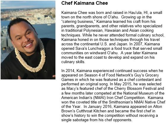 Chef Kaimana Chee Pic and Bio